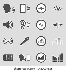 Voiceover Icons. Sticker Design. Vector Illustration.