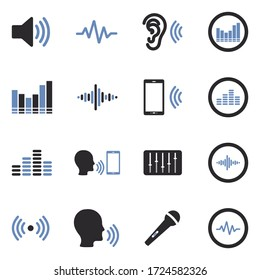 Voiceover Icons. Two Tone Flat Design. Vector Illustration.