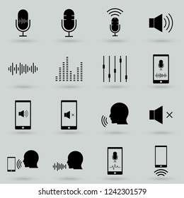 Voiceover or Voice Command Icon with Sound Wave Images Set - solid