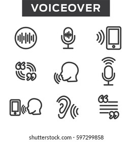 Voiceover or Voice Command Icon with Sound Wave Images Set
