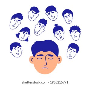 Voices in head. Human faces talk give advice. Social pressure, people criticism, bullying concept. Boundaries violation. Mental addiction of crowd opinion. Psychological influence vector illustration