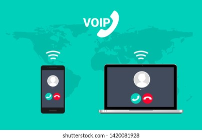 Voip call system voice phone technology. Voice over ip internet video telephony data cloud laptop and mobile cellphone.