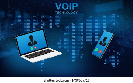 Voip call system voice phone technology. Voice over IP, IP telephony concept. Hi-tech call system. Voice over ip internet ,data cloud, laptop and smartphone. IP Telephony cloud pbx concept