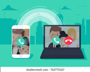 VoIP technology, voice over IP, IP telephony concept. Smartphone with outgoing call, computer with incoming call on screen. Internet calling banner. Modern flat design vector illustration