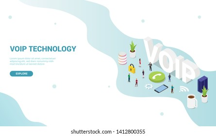 voip voice over internet protocol concept with big words and team people and icon for website template design landing homepage - vector