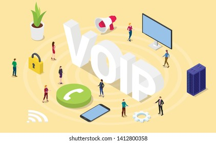voip voice over internet protocol concept with big words and team people and icon with modern isometric isometry 3d style - vector