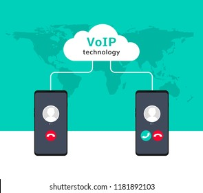 VoIP voice over IP illustration smartphone. Voip call flat concept design.
