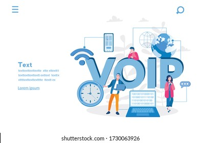 VOIP. Voice over IP or internet protocol technology. Vector illustration for web banner, infographics, mobile. Network phone call software.