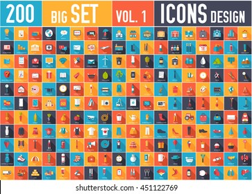 Vol. 1 Flat collection set icons of business, social, eco, bank, farm, fashion, tool, medicine, travel, candy, logistic, make up, training, office, skill, fruit, rescue, startup. For  creative