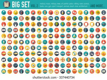 Vol 2. Flat big collection set icons of medical, army, tools, nature, building, home, office, chart, science, boat, sport, war, animal, summer, tool, country. For infographic illustration design