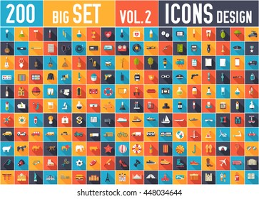Vol. 2 Flat big collection set icons of medical, army, war, shoe, nature, news, draw, police, rafting, room, science, boat, sport, gym, car, animal, summer, tool, country. For infographic design