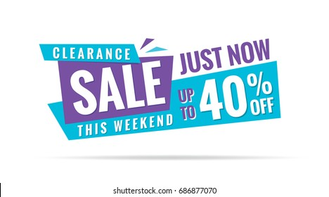 Vol. 3.2 Clearance Sale blue purple 40 percent heading design for banner or poster. Sale and Discounts Concept. Vector illustration.