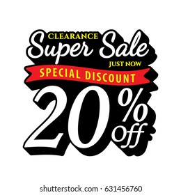 Vol. Super Sale 20 percent heading design black old school style  for banner or poster. Sale and Discounts Concept. Vector illustration.