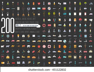 Vol.2 Flat big collection set icon of medical, invent, eco, architect, ranch, equipment, tool, tourism, travel, template, web, office, training, element, city, startup. For infographic illustration