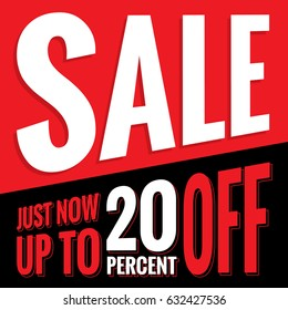 Vol.2 Sale sign set red and black 20 percent heading design for banner or poster. Sale and Discounts Concept. Vector illustration.