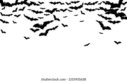 Volant black bats flock isolated on white vector Halloween background. Flittermouse night creatures illustration. Silhouettes of flying bats traditional Halloween symbols on white.
