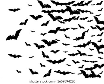 Volant black bats group isolated on white vector Halloween background. Flying fox night creatures illustration. Silhouettes of flying bats vampire Halloween symbols on white.