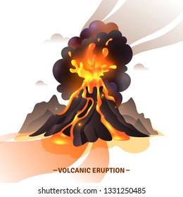 Volcanic eruption cartoon composition with salute from magma ashes and smoke flying out from volcano vector illustration