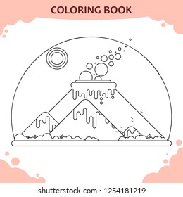 Volcanic eruption. Coloring book for kids. Flat illustration