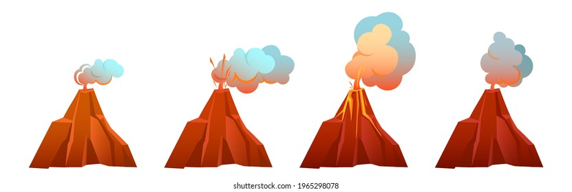 Volcanic eruption in different stages. Volcano erupts with flow lava, fire and clouds of smoke, ash and gases. Vector cartoon set of mountain with crater and hot magma isolated on white background