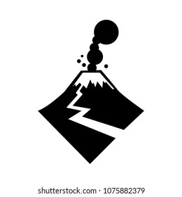 Volcanic eruption. Disaster strikes.  Vector icon.