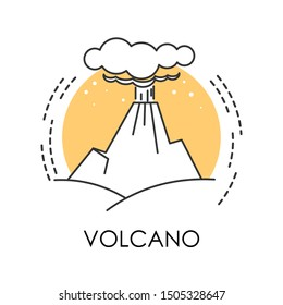 Volcanic eruption, natural disaster, volcano isolated icon vector. Hot burning lava splash and smoke, natural phenomenon. Erupting rock, life threat and danger, ecological problem, environment