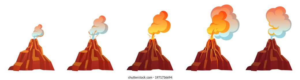Volcanic eruption process in different stages. Volcano erupt with flow magma, fire and clouds of smoke, ash and gases. Vector cartoon set of mountain with crater and lava isolated on white background