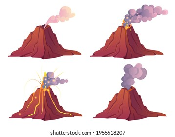Volcanic eruption stages. Volcano erupts with hot lava, fire and clouds of smoke, ash and gases. Vector cartoon set of mountain with crater and flow magma isolated on white background