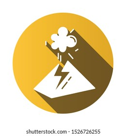 Volcanic eruption yellow flat design long shadow glyph icon. Geothermal power. Volcano explosion. Seismically hazardous area. Smoke and ash emission from mountain. Vector silhouette illustration