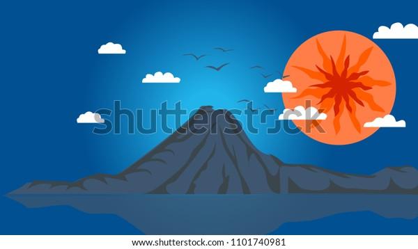 Eruption of volcano background, flat style. Eruption of volcano background.  flat illustration of eruption of volcano vector