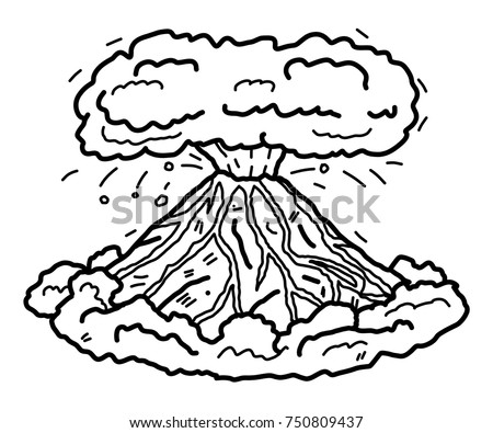 Volcano Cartoon Vector Illustration Black White Stock Vector