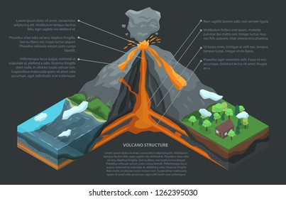 Volcano cross section infographic. Isometric of volcano cross section vector infographic for web design