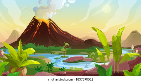 Volcano eruption cartoon vector background of game interface nature landscape. Mountain with fountain of lava, volcanic ash clouds, fire and smoke, forest trees, green grass, river and cloudy sky