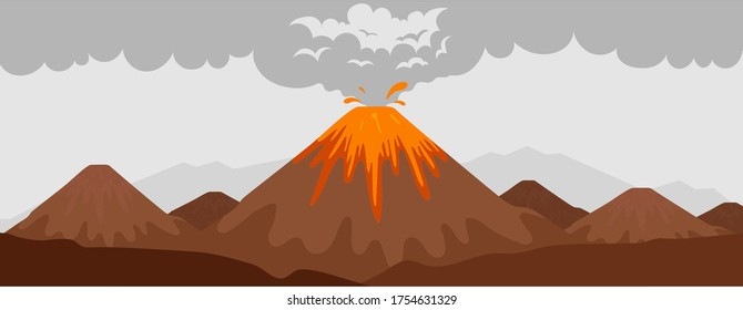 Volcano eruption flat color vector illustration. Mountain with hot lava. Wild nature scenery. Natural phenomenon. 2D cartoon landscape with hill with flame and smoke on background