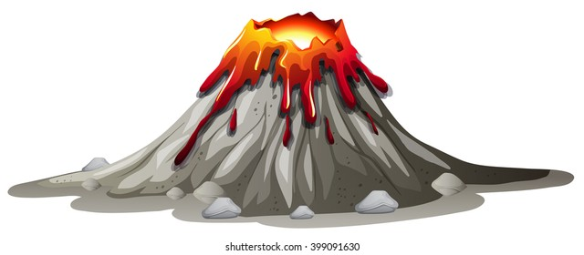 Volcano eruption with hot lava illustration