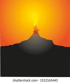 Volcano eruption with hot lava vector illustration