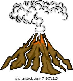 Volcano eruption with hot lava vector illustration.