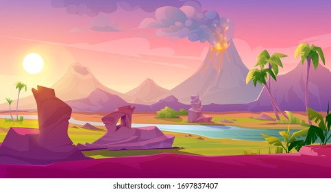 Volcano eruption with lava flows and smoke clouds. Vector cartoon summer landscape of mountain with smoking crater and liquid magma, rocks, river, tropical plants and palm trees