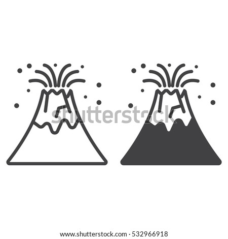 Volcano eruption line icon outline filled stock vector royalty free volcano eruption line icon outline and filled vector sign linear and full pictogram isolated maxwellsz