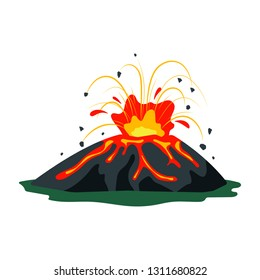 Volcano eruption with magma, smoke, ashes isolated on white background. Volcanic activity hot lava eruption - flat vector illustration