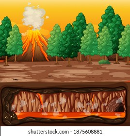 Volcano eruption with magma in underground illustration