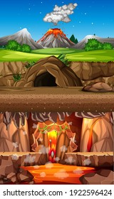 Volcano eruption in nature forest scene at daytime and cave scene and infernal cave scene illustration