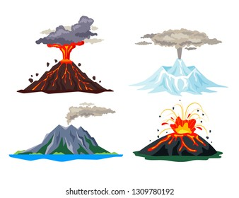 Volcano eruption set with magma, smoke, ashes isolated on white background. Volcanic activity hot lava eruption, sleeping and erupting volcanoes - flat vector illustration