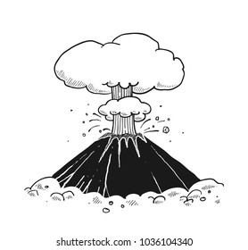 Volcano eruption sketch