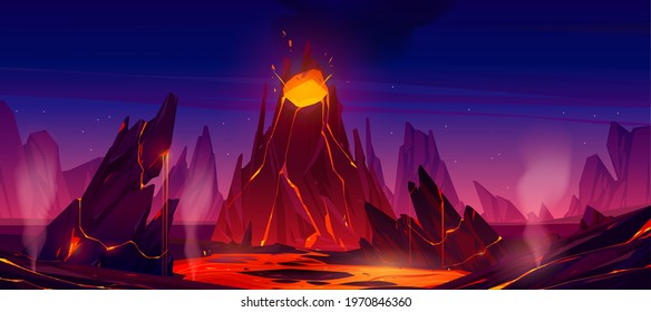 Volcano eruption with steaming magma flow down from volcanic mouth. Nature disaster, apocalypse background with glowing hot liquid drain from rock under starry sky, Cartoon Vector illustration