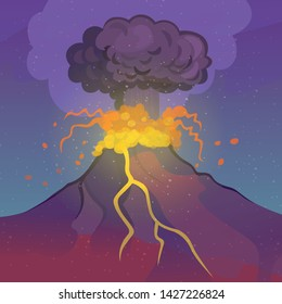 Volcano eruption. Vector cartoon illustration.