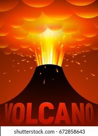 Volcano eruption. Vector cartoon illustration. Eps10. RGB Global colors