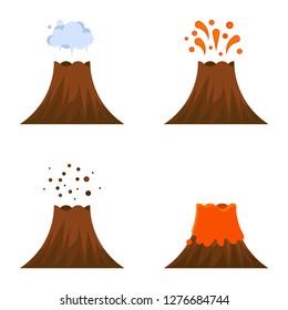 Volcano eruption vector icon set, isolated on white background