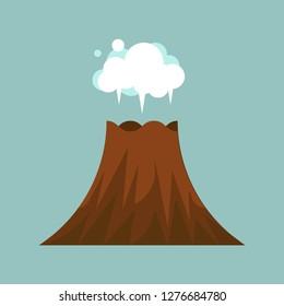 Volcano eruption vector illustration, isolated on white background