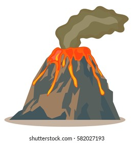 Volcano, volcano icon, hot lava, magma, lava icon, mountain, fire. Flat design, vector illustration, vector.
